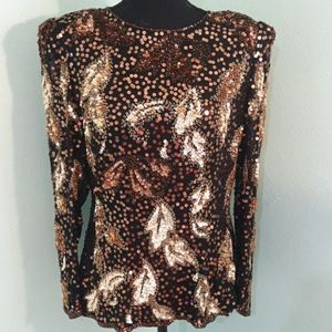 Vintage 100% silk with sequins and beads party top